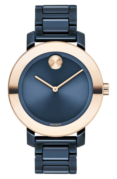 Movado Women's Bold Evolution Ceramic & Rose Gold Ip Bracelet Watch In Navy/ Rose Gold