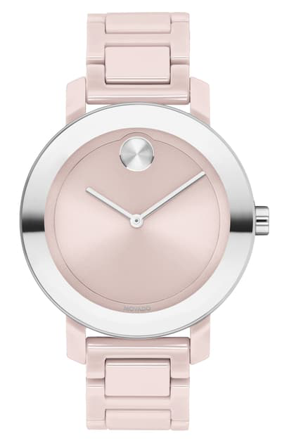 Movado Women's Bold Evolution Ceramic & Stainless Steel Bracelet Watch In Blush/ Silver
