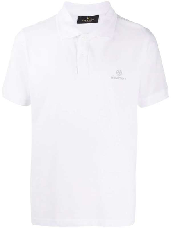 Belstaff Short Sleeve Embroidered Logo Polo Shirt In White