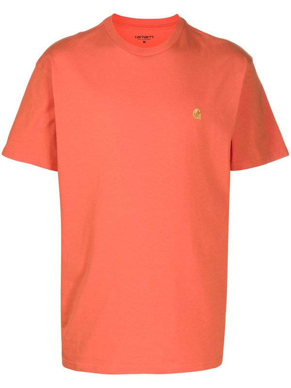 Carhartt Chase Embroidered Logo Cotton T-shirt In Orange