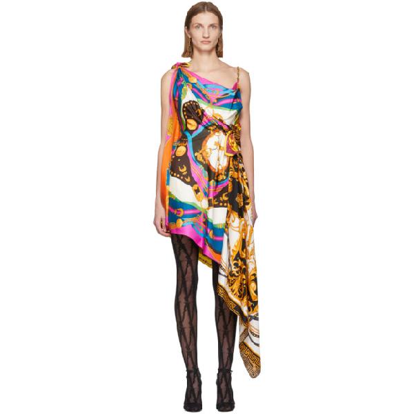 Versace Rodeo Pop Print Asymmetric Mini Dress In A7205 Pink