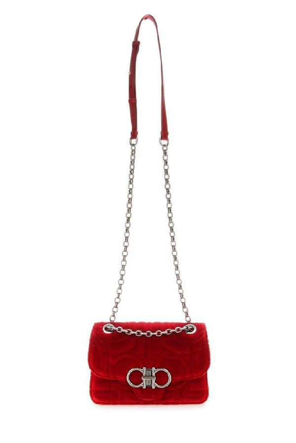 Salvatore Ferragamo Gancini Quilted Chain Bag In Red