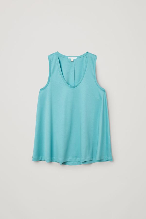 Cos Organic Cotton Fluid Vest In Turquoise