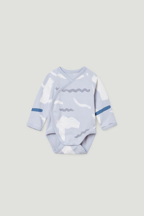 Cos Kids' Printed Organic Cotton Babygrow In Grey