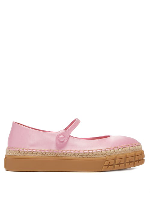 Prada Mary-jane Satin Platform Flats In Pink
