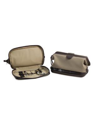 Bey-berk 7-piece Suede Toiletry Bag, Stainless Steel Manicure & Grooming Set In Brown