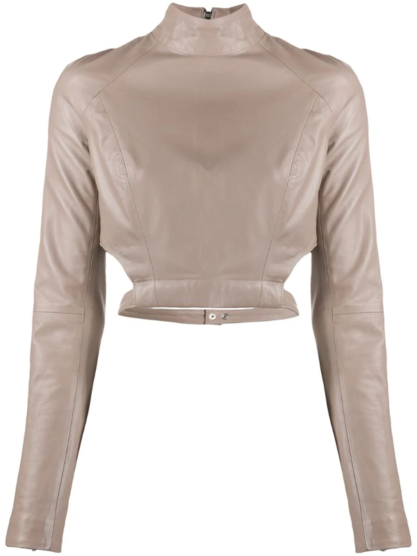 Manokhi Jules Leather Blouse In Neutrals