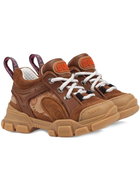 Gucci Kids Leather Flashtrek Gg Sneakers In Brown