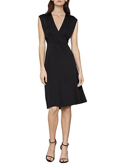 Bcbgmaxazria Cap Sleeve A-line Dress In Black