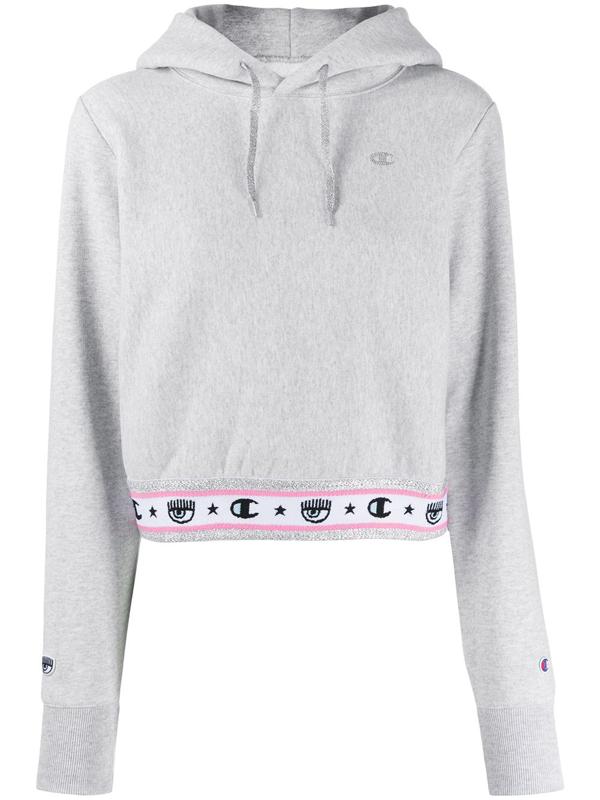 Chiara Ferragni Logomania Hoodie In Grey