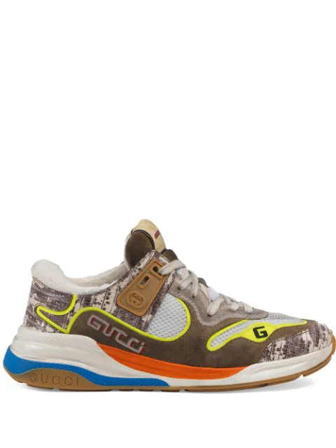 Gucci Low-top Sneakers Ultrapace Calfskin Logo Beige Yellow In Brown