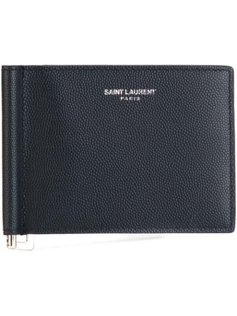 Saint Laurent Money Clip Wallet In Blue