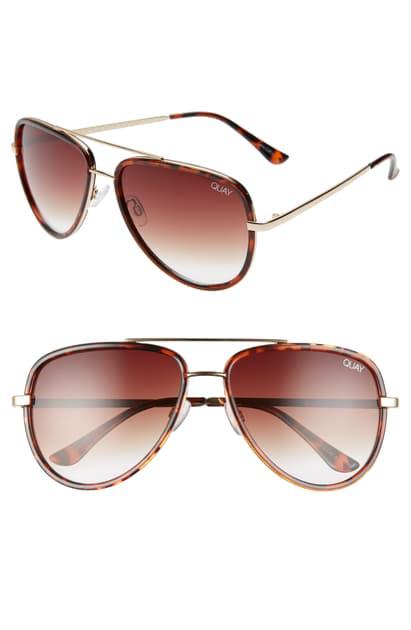 Quay All In 56mm Aviator Sunglasses In Tortoise/ Brown Fade
