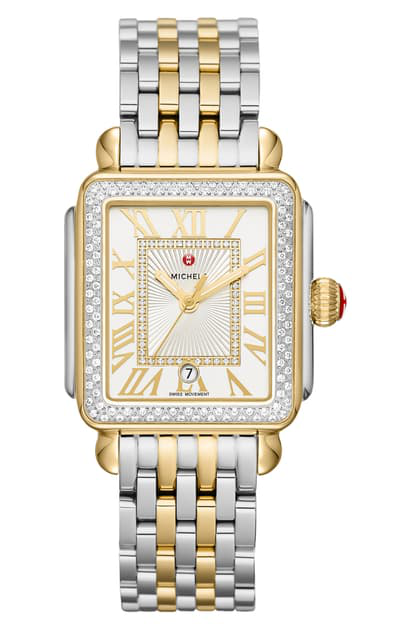 Michele Deco Madison Diamond Dial Watch Head & Two-tone Bracelet, 33mm In Gold/ Silver