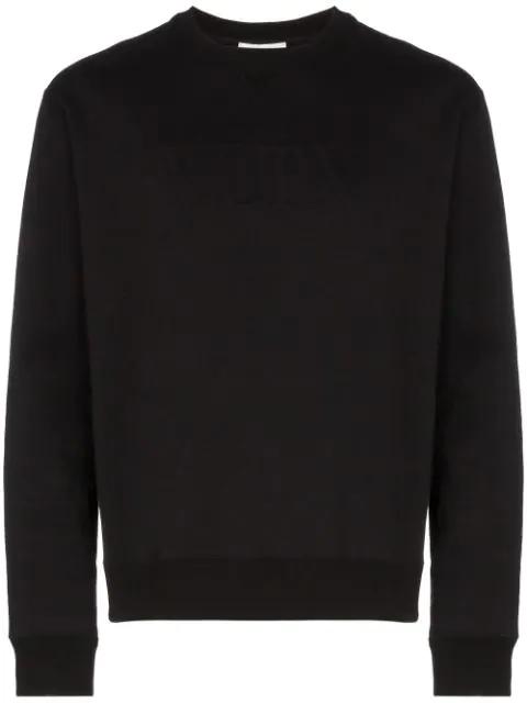 Valentino Logo Embossed Cotton Sweatshirt In Black