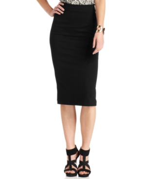 Vince Camuto Stretch-knit Pencil Skirt, Created For Macy's In Black