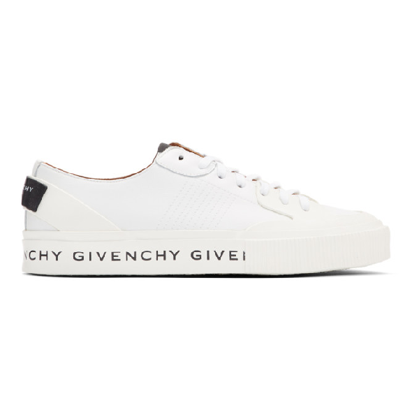 Givenchy Tennis Light Lo Sneakers In White Leather In 100 White