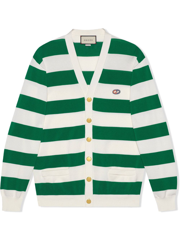Gucci Striped Knit Cotton Cardigan With Gg In White