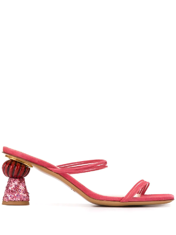 Jacquemus 55mm Les Vallena Suede Sandals In Pink