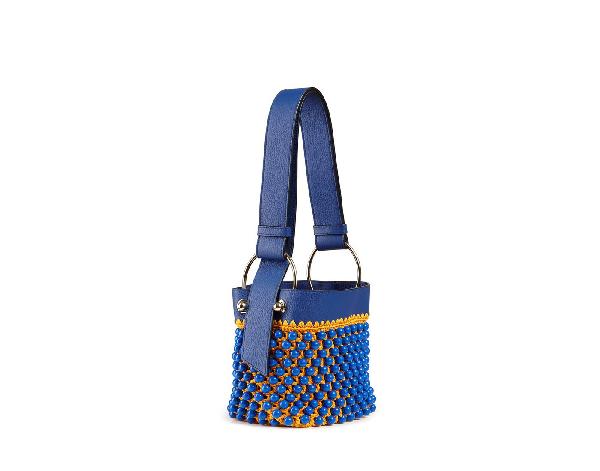 Ss20 Lana Nano Bucket Bag In Beaded Cobalt/blossom Yellow