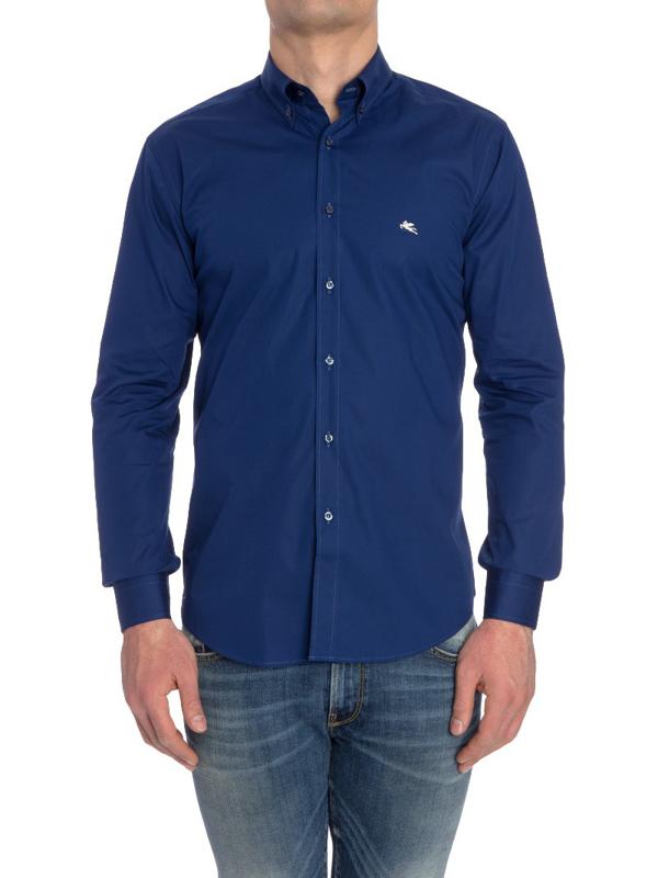 Etro Cotton Regular Shirt In Blue