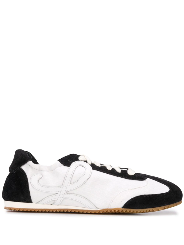 Loewe Suede, Canvas And Leather Sneakers In White