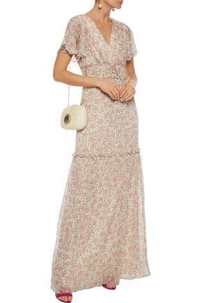 Mikael Aghal Ruffle-trimmed Floral-print Georgette Maxi Dress In Beige