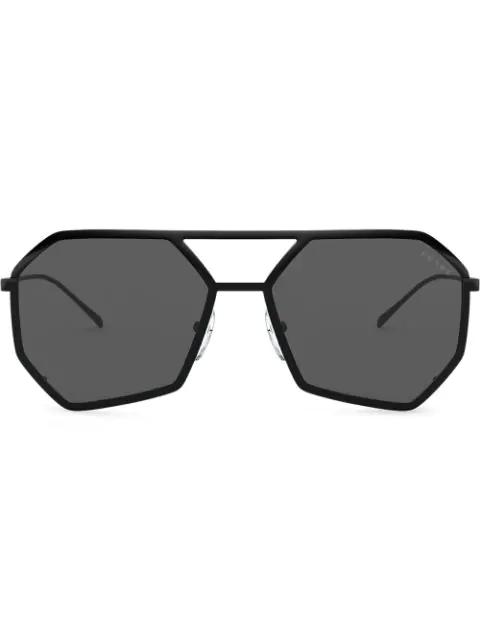 Prada Logo-embossed Heptagon-frame Sunglasses In Black