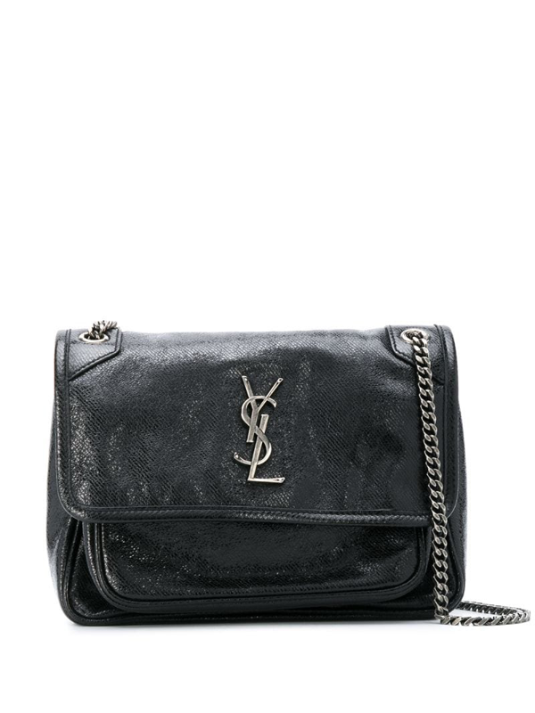 Saint Laurent Niki Baby Vintage-effect Shoulder Bag In Black