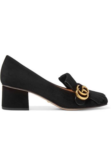 Gucci Marmont Fringe Suede 55Mm Loafer, Black In 1000 Nero