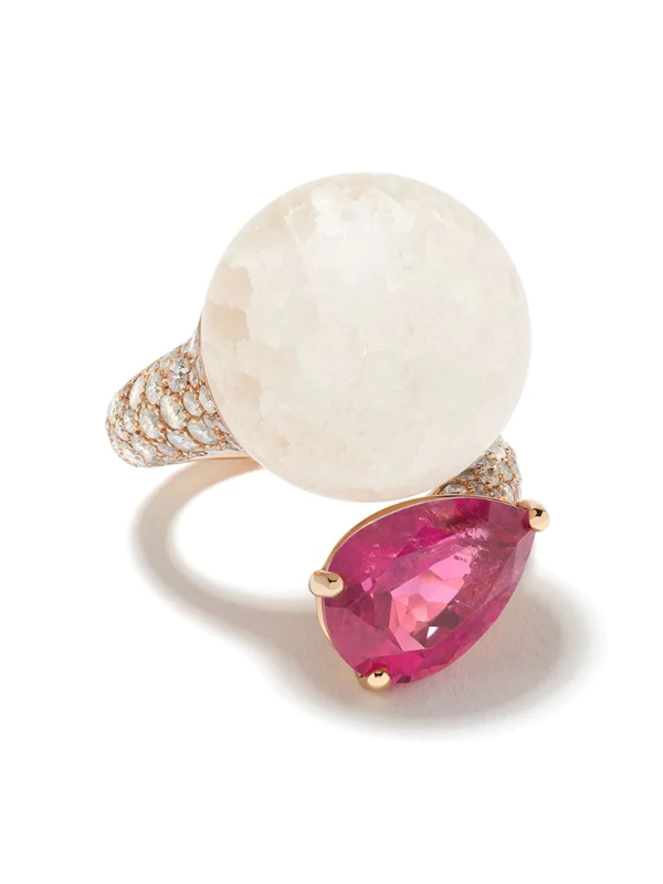 De Grisogono 18kt Rose Gold, Quartz, Rhodolite And Diamond Curved Ring In Rose Gold, White And Pink