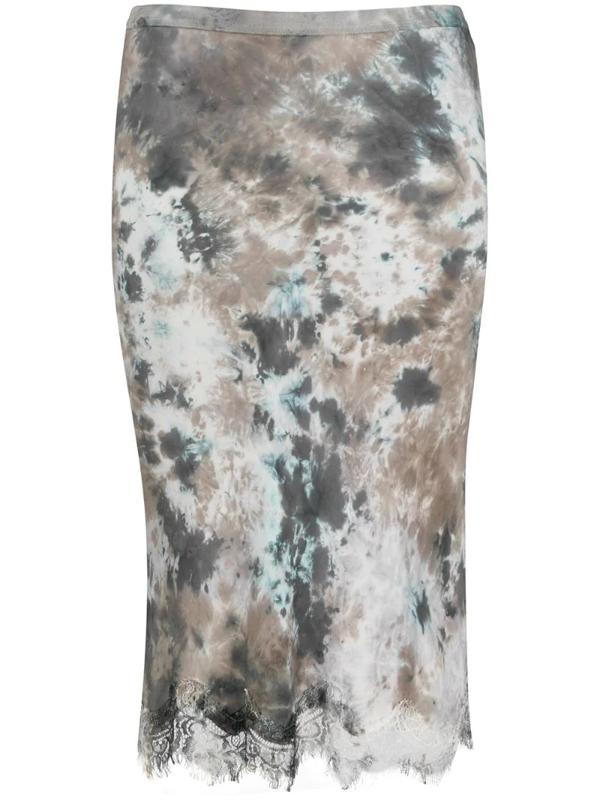 Gold Hawk Lace-hem Tie-dye Satin Skirt In Grey