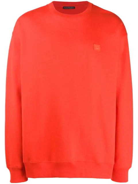 Acne Studios Face Patch Long-sleeved T-shirt In Paprika Red