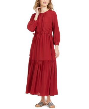 Weekend Max Mara Ruched Tiered Dress In Red