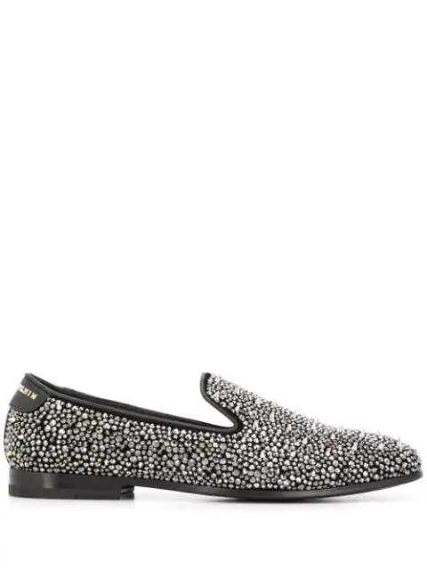 Philipp Plein Rhinestone Studded Loafers In Silver