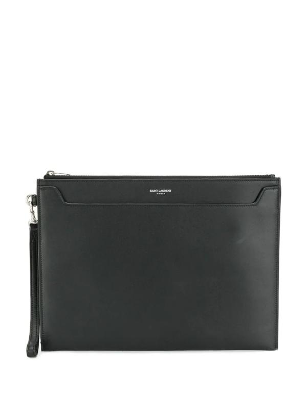 Saint Laurent Pebble-grain Leather Pouch In Black