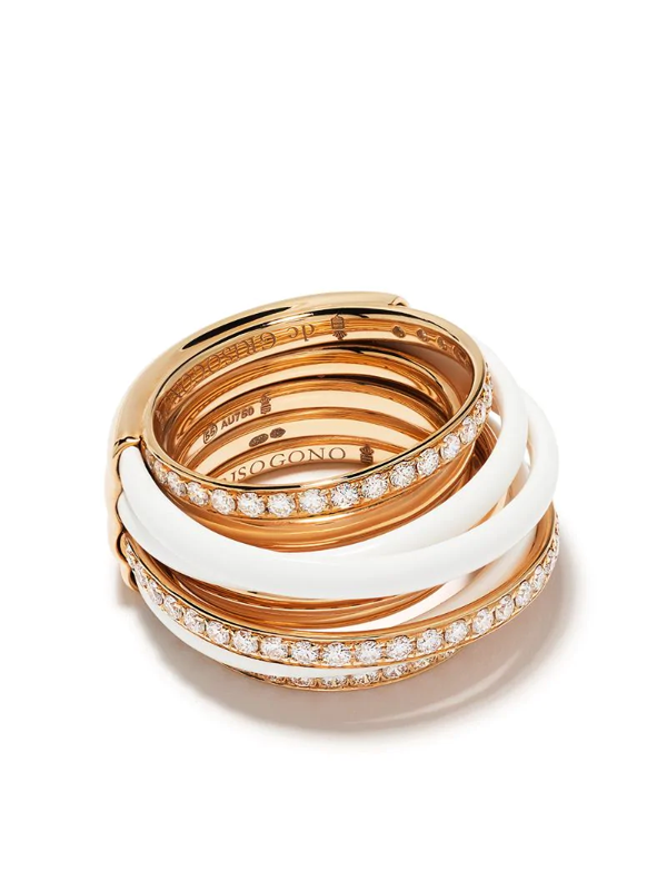 De Grisogono 18kt Rose Gold Layered Enamel And Diamond Ring