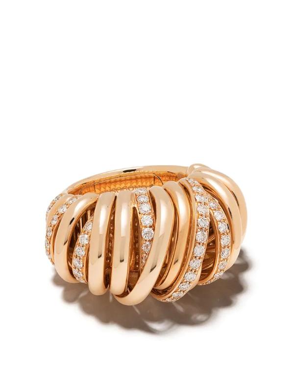 De Grisogono 18kt Rose Gold Coil Diamond Ring