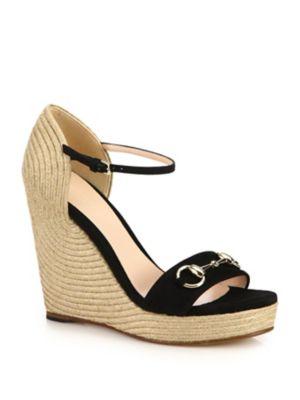 b9f3ec1c4417 Gucci Carolina Open Toe Ankle Buckle Espadrille Wedge Sandals In Black