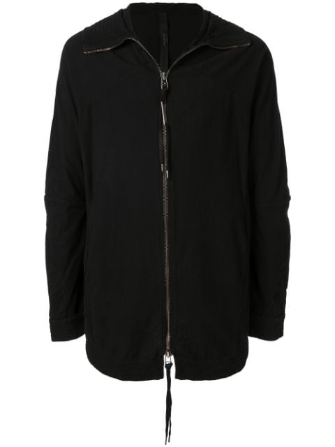 Army Of Me Longline Zipped Front Hoodie In Black