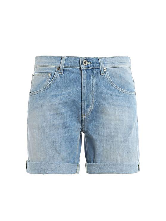 Dondup Denim Shorts In Light Blue