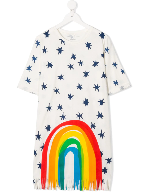 Stella Mccartney White Teen Dress With Colored Press