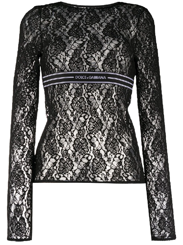 Dolce & Gabbana Long-sleeved Lace Top With Branded Elastic In Black
