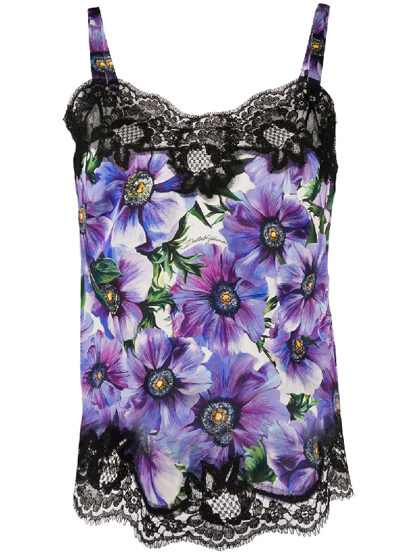 Dolce & Gabbana Satin Lingerie Top With Lace And Anemone Print In Purple