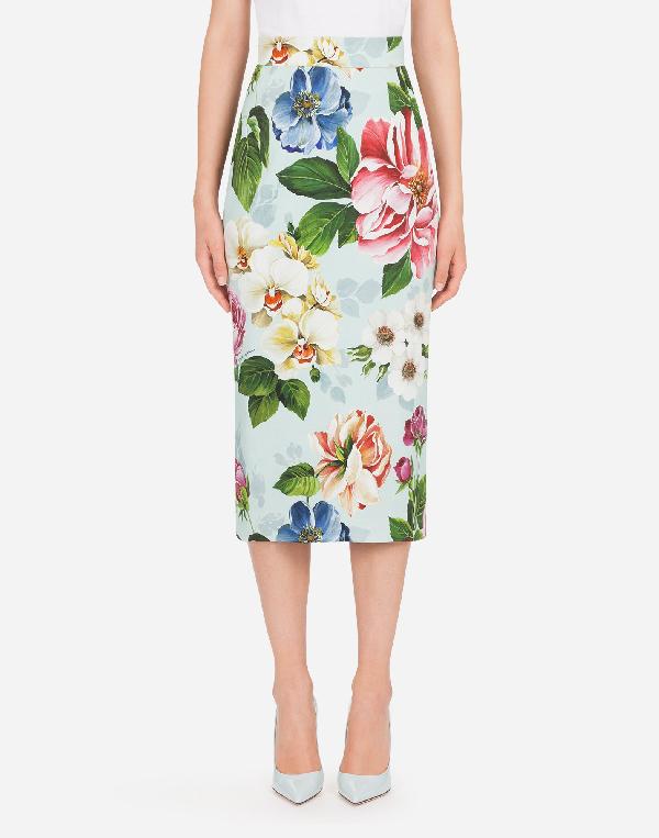 Dolce & Gabbana Floral-print Cady Midi Skirt In Floral Print