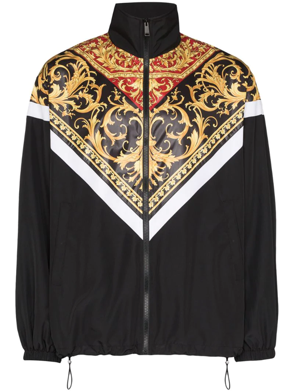 Versace Baroque-print Funnel-neck Zipped Shell Tracksuit Jacket In Black