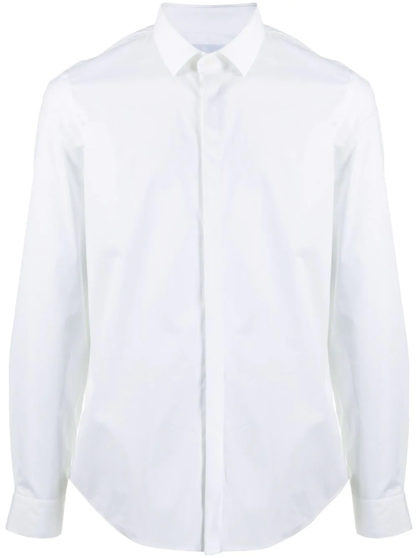 Dondup Shirt In White With Hidden Buttons