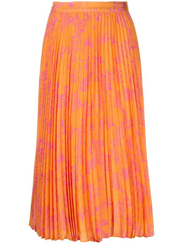 Tanya Taylor Jeana Floral Pleated Midi Skirt In Orange