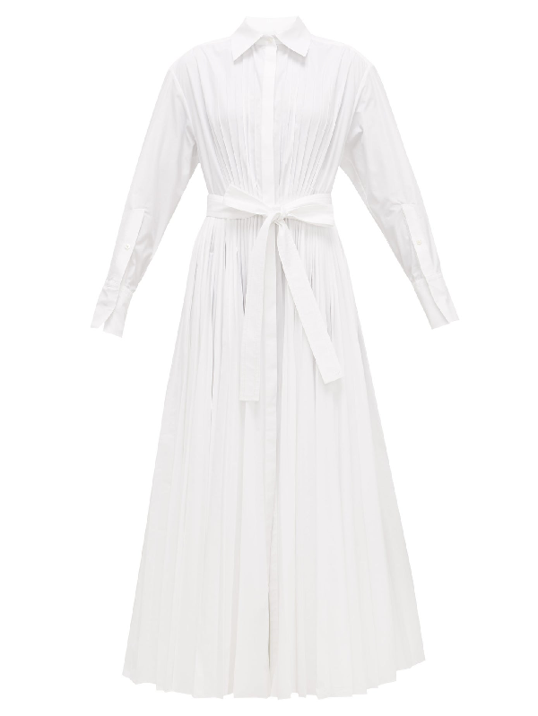 Valentino Pleated Cotton-blend Maxi Shirt Dress In White