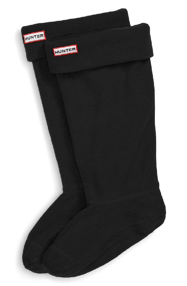 Hunter Original Tall Cable Knit Cuff Welly Boot Socks In Black Fleece